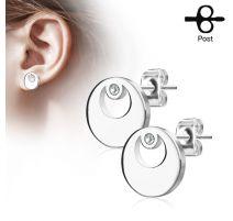 Paire boucles d'oreilles clous cercle argenté