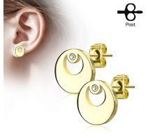 Paire boucles d'oreilles clous cercle doré