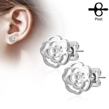 Paire boucles d'oreilles clous fleur rose argenté