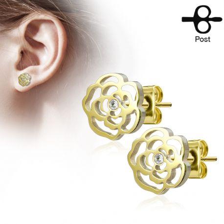 Paire boucles d'oreilles clous fleur rose doré