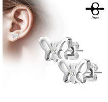 Paire boucles d'oreilles clous papillon strass argenté
