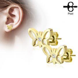 Paire boucles d'oreilles clous papillon strass doré