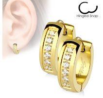 Paire Boucles d'oreille Anneaux ligne de strass doré
