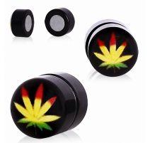 Faux piercing plug magnétique feuille de cannabis