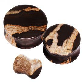 Piercing plug pierre naturelle zèbre africaine
