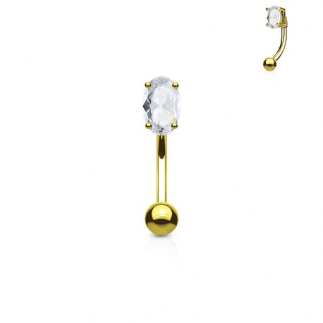 Piercing arcade plaqué or zircon ovale blanc
