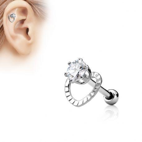 Piercing Oreille Helix Coeur Gemme