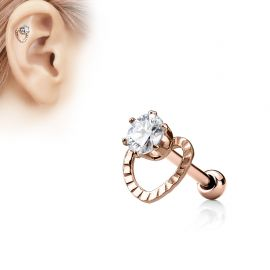 Piercing Oreille Helix Coeur Gemme Or Rose