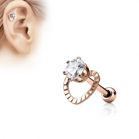 Piercing Oreille Helix Coeur Gemme Or Rose