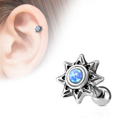 Piercing cartilage hélix soleil tribal opale bleue