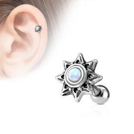 Piercing cartilage hélix soleil tribal opale blanche