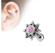 Piercing cartilage hélix soleil tribal opale rose
