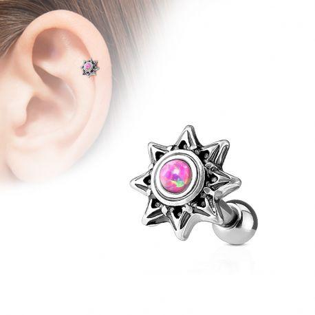 Piercing cartilage hélix soleil tribal opale rose