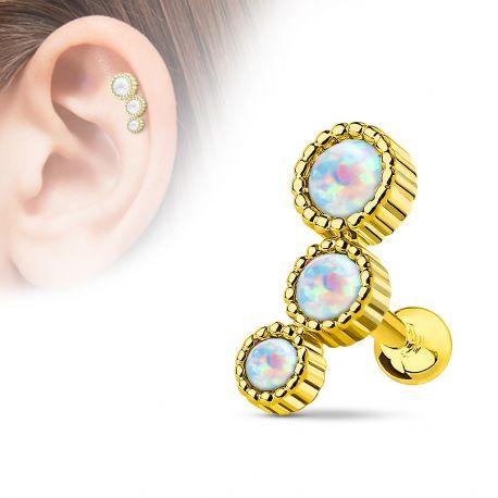 Piercing cartilage triple opale plaqué or