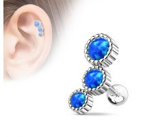 Piercing cartilage triple opale bleu