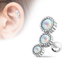 Piercing cartilage triple opale blanc
