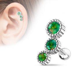 Piercing cartilage triple opale vert