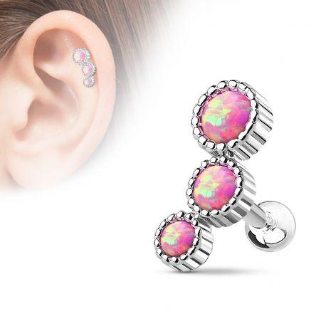 Piercing cartilage triple opale rose