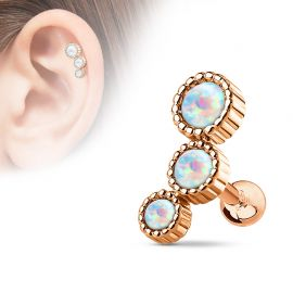 Piercing cartilage triple opale plaqué or rose