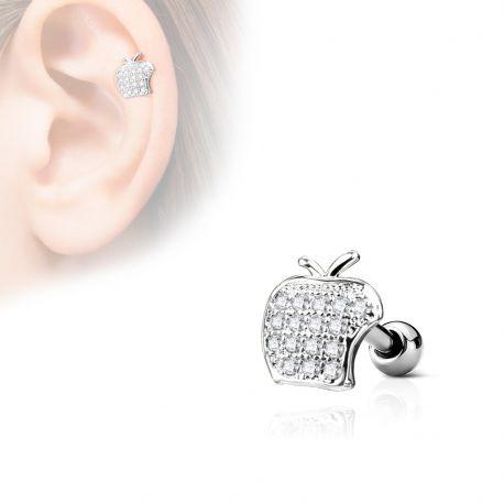 Piercing cartilage hélix pomme strass