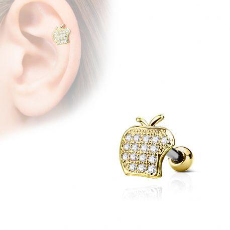 Piercing cartilage hélix pomme strass plaqué or