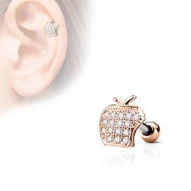 Piercing cartilage hélix pomme strass plaqué or rose