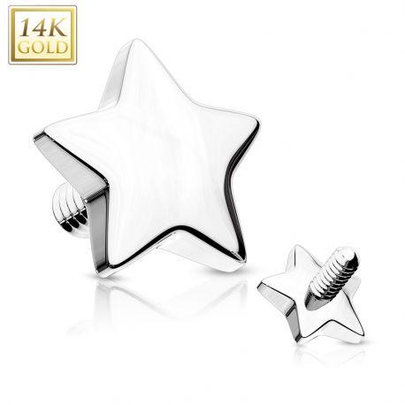 Piercing micro dermal Or blanc 14 Carats Etoile