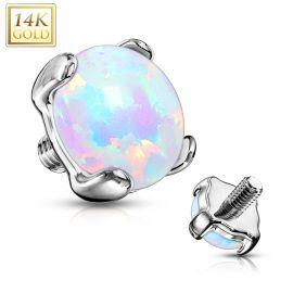 Piercing microdermal opale Or blanc 14 Carats