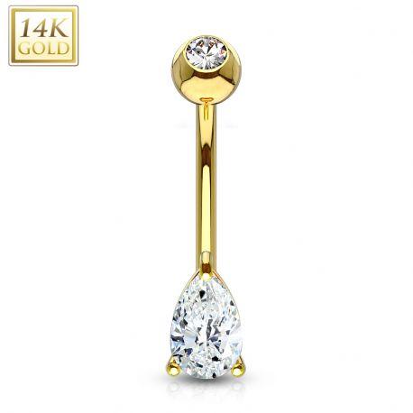 Piercing nombril Or 14 carats gemme larme
