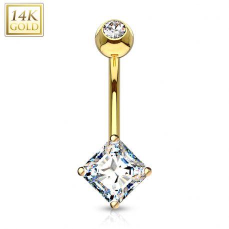Piercing nombril Or 14 carats gemme carré
