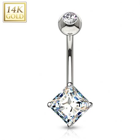 Piercing nombril Or Blanc 14 Carats Strass Carré