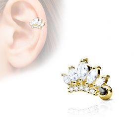 Piercing cartilage hélix tiare gemmes plaqué or