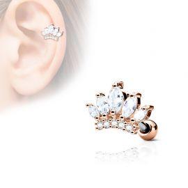 Piercing cartilage hélix tiare gemmes plaqué or rose