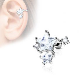 Piercing cartilage hélix pierres étoiles