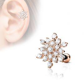 Piercing cartilage hélix flocon de neige plaqué or rose