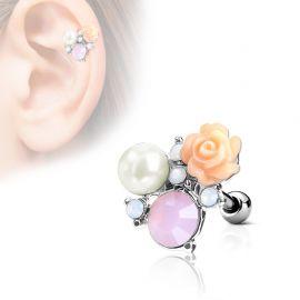 Piercing cartilage hélix cristaux fleur perle