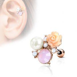 Piercing cartilage hélix cristaux fleur perle plaqué or rose