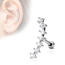 Piercing cartilage hélix courbé 7 strass