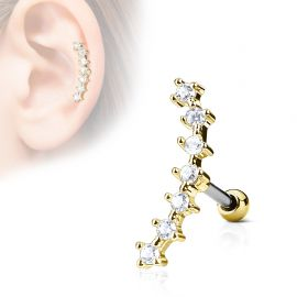 Piercing cartilage hélix courbé 7 strass plaqué or