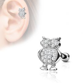 Piercing cartilage hélix hibou strass