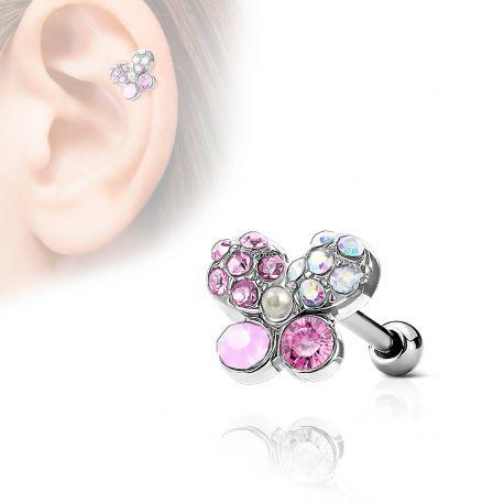 Piercing cartilage hélix papillon cristaux opalite