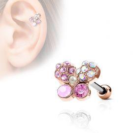 Piercing cartilage hélix papillon cristaux opalite plaqué or rose
