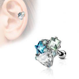 Piercing cartilage hélix multi cristaux