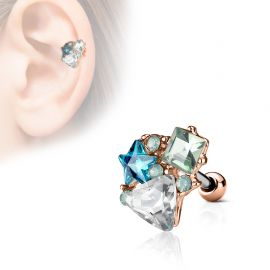 Piercing cartilage hélix multi cristaux plaqué or rose