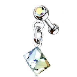 Piercing cartilage hélix cristal carré aurore boréale