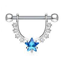 Piercing téton pendentif gemmes étoile turquoise