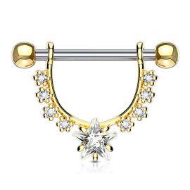 Piercing téton pendentif gemmes étoile plaqué or