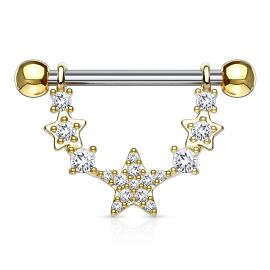 Piercing téton pendentif étoiles liées plaqué or