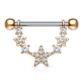 Piercing téton pendentif étoiles liées plaqué or rose
