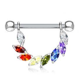 Piercing téton pendentif gemmes marquise multicolores